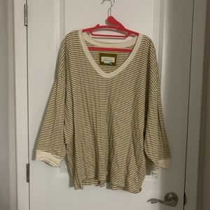 2X Anthro Dolman 3/4 Sleeve Top in Beige and Cream